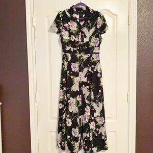 Zara Blue Floral Dress Size Large